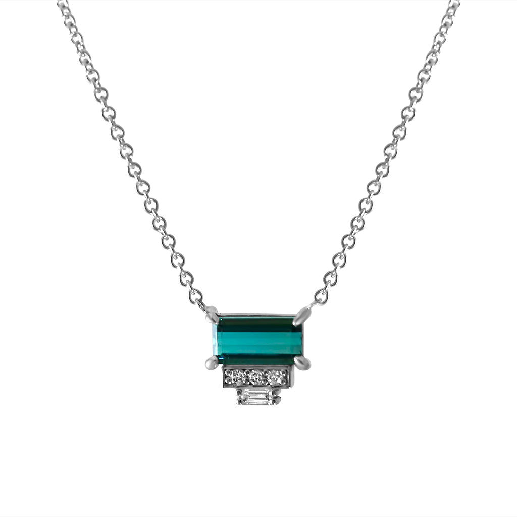 blue green baguette tourmaline gemstone necklace with white diamonds and an 18inch white gold chain
