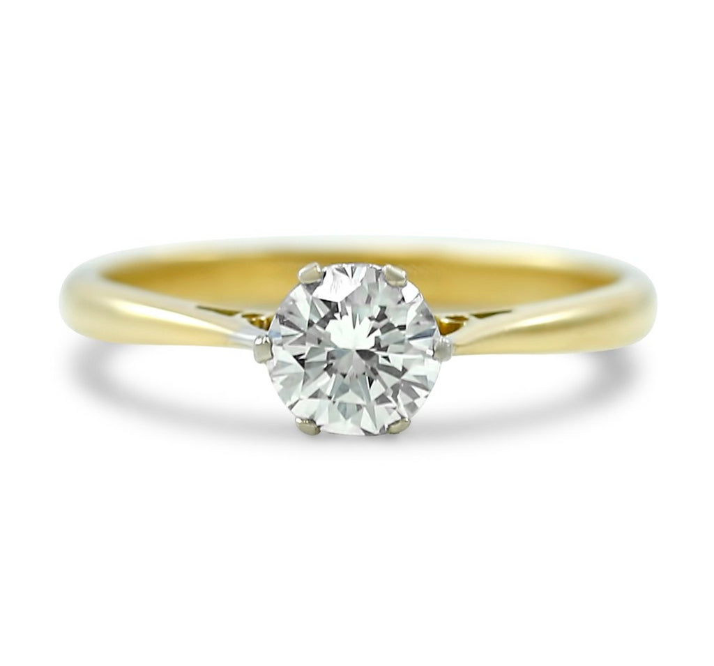 18k yellow gold antique transitional solitaire diamond engagement ring with filigree details c.1900