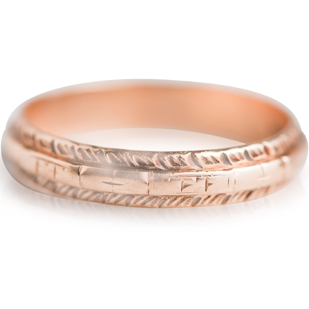 14 KARAT YELLOW GOLD HAND ENGRAVED ESTATE WEDDING BAND