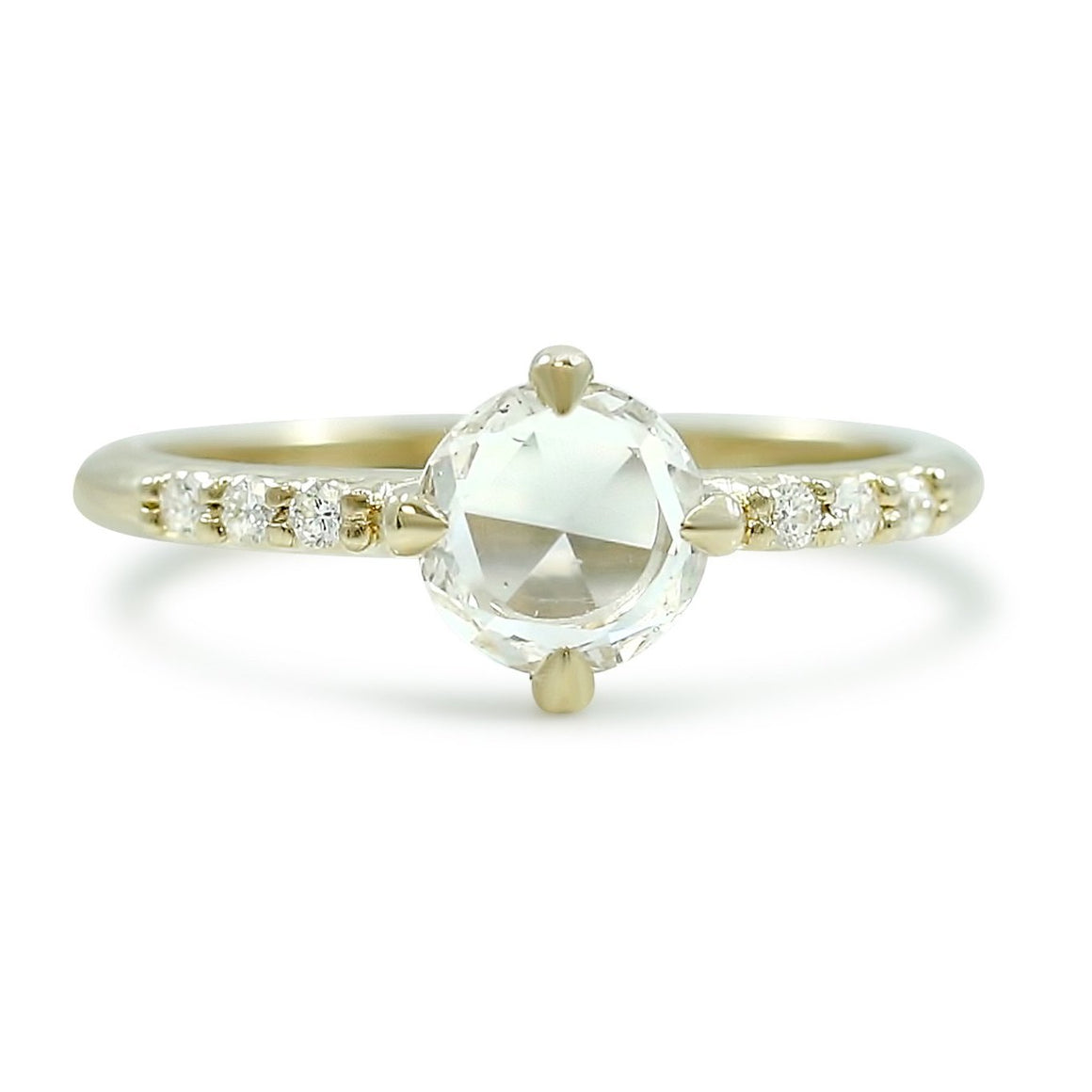 north south east west set rose cut diamond engagement ring with a recycled yellow gold band