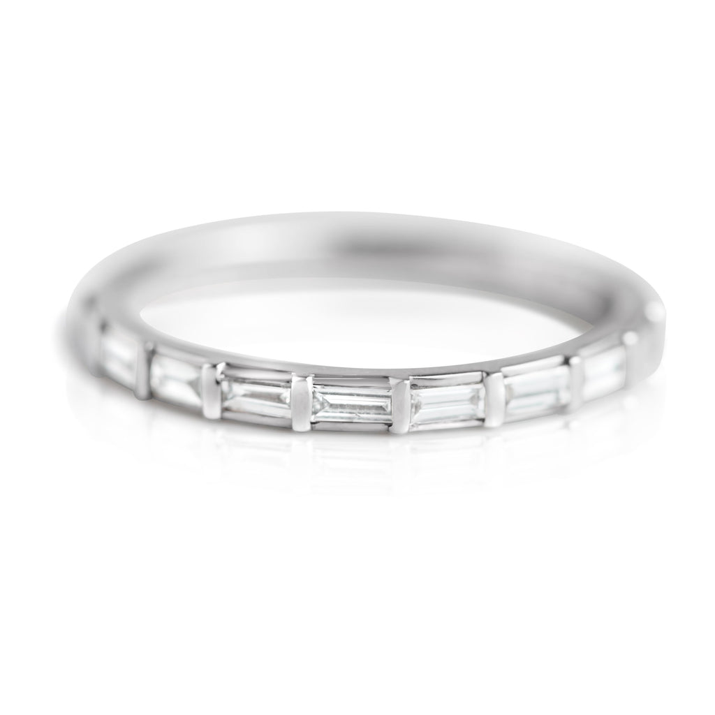diamond baguette wedding band with white gold