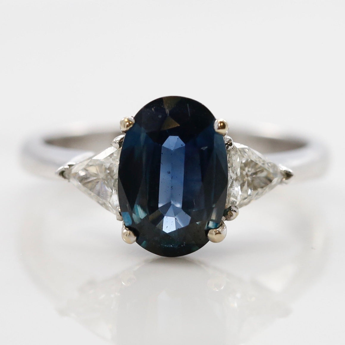 Front View Sapphire Diamond 18K White Gold Estate Ring