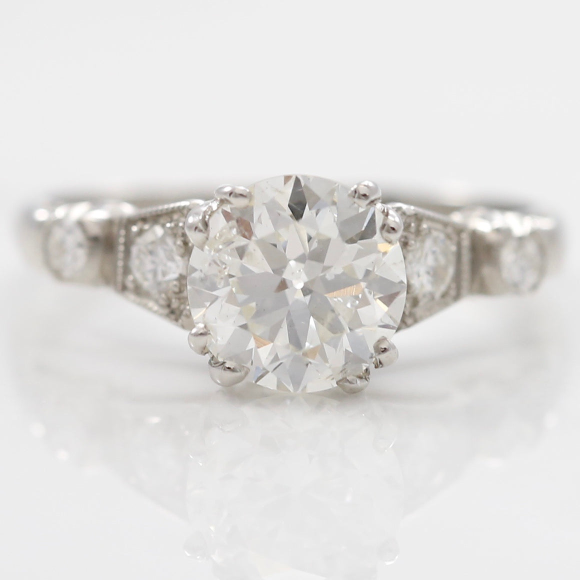 Front View Platinum Diamond Estate Engagement Ring