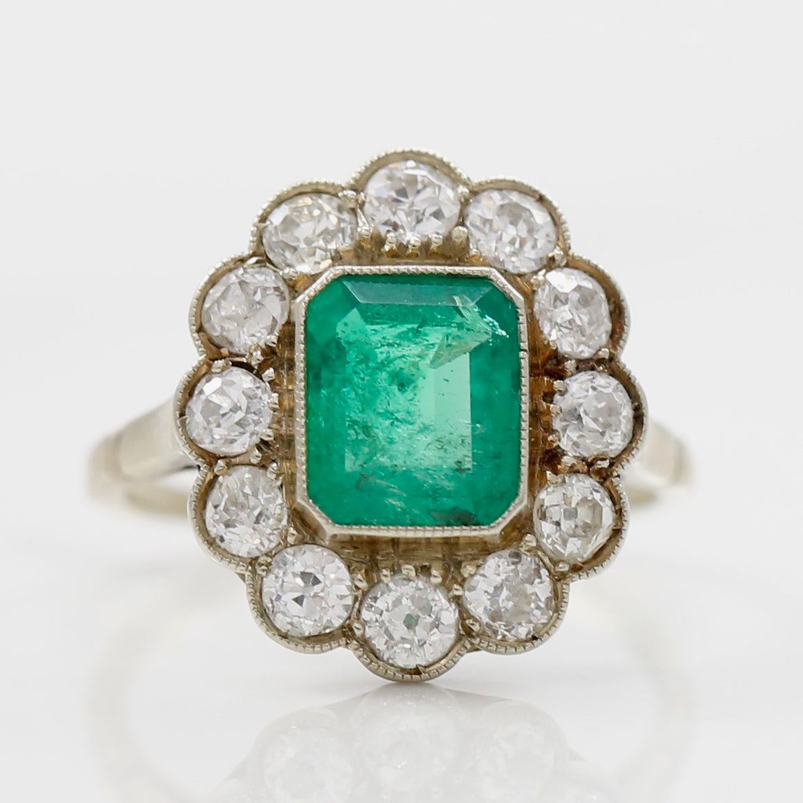 Front View Emerald Diamond 18K White Gold Estate Ring