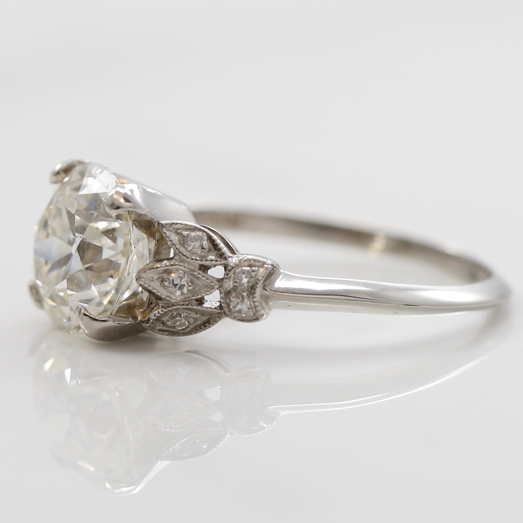 platinum engagement ring baguette retro cocktail diamond marquise estate products