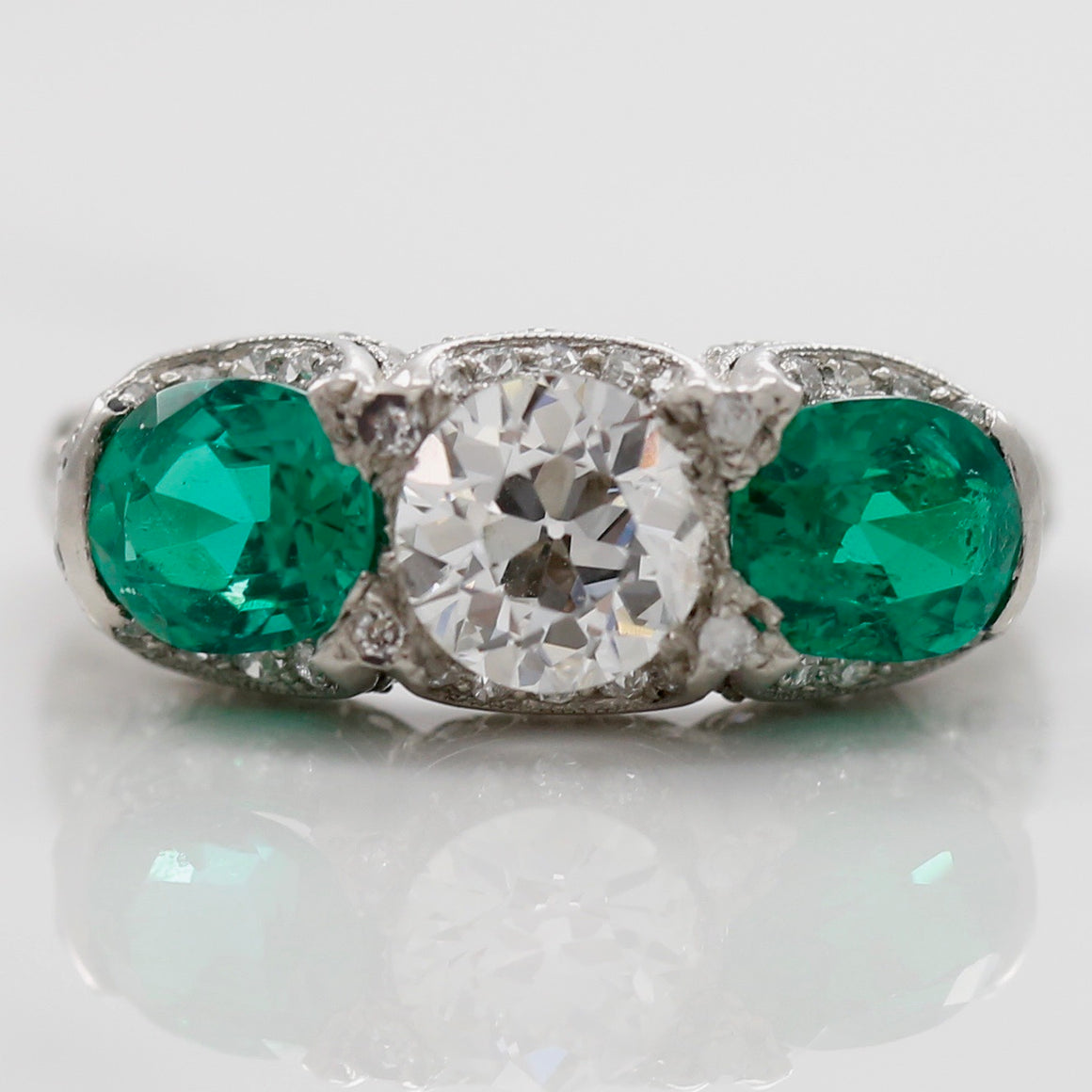 Front View Platinum Emerald Diamond Estate Ring