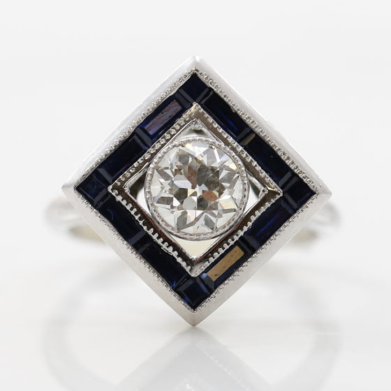 front view art deco platinum diamond sapphire ring