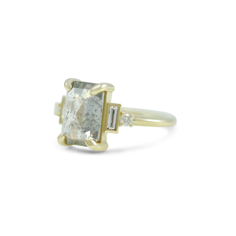 14k yellow gold rose emerald cut canada gray diamond engagement ring with baguette and round diamond side stones