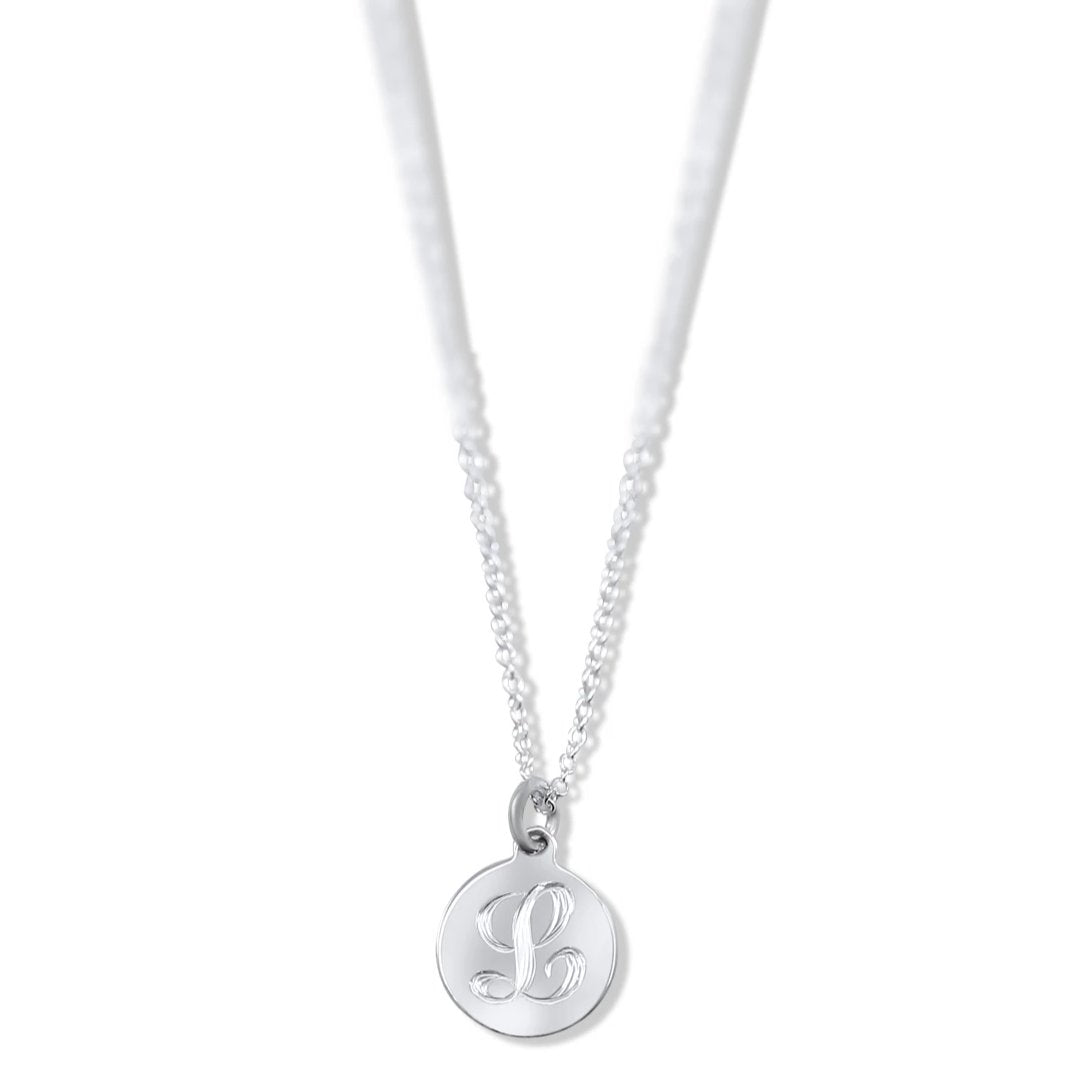 sterling silver, or 14k white, yellow or rose gold initial pendant with a 16in chain