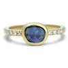 14k yellow gold bezel set rose cut blue sapphire ring with diamonds on the band