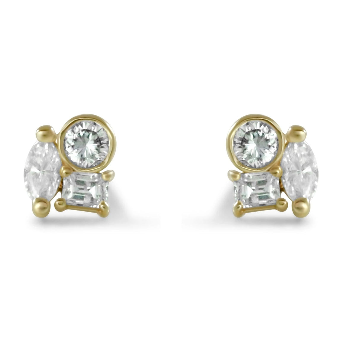 14k yellow gold diamond cluster stud earrings