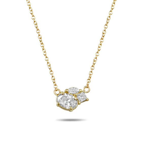 14k yellow gold diamond cluster necklace on a 16in chain
