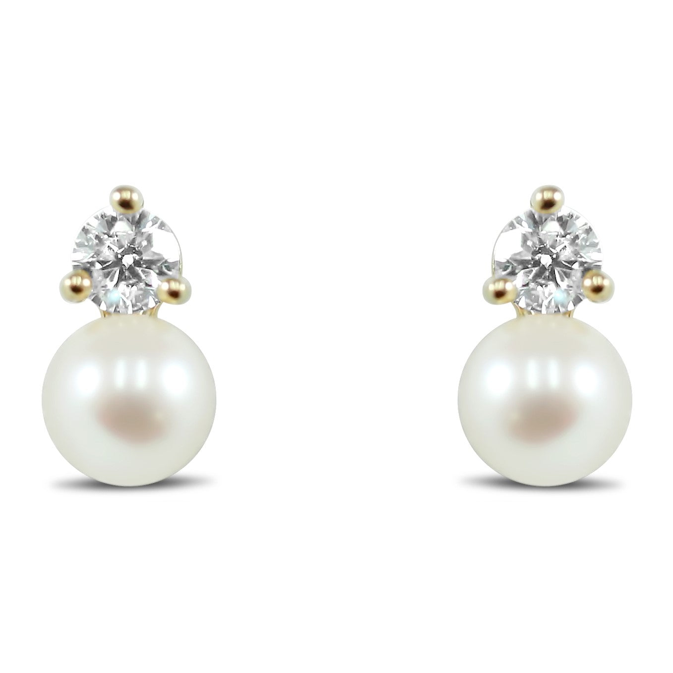 14k yellow gold 6mm pearl and round diamond stud earrings bridal jewelry