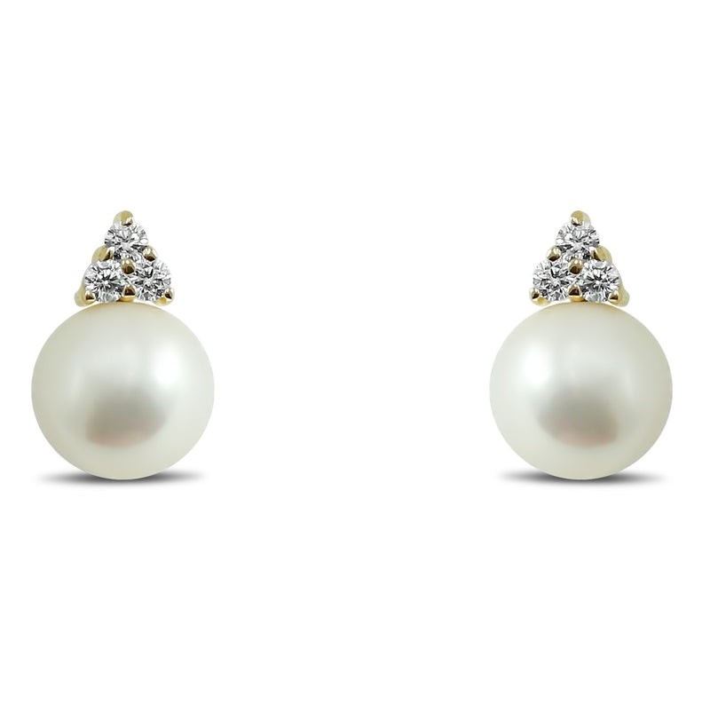 14k yellow gold 7mm pearl stud earrings with 1/8tcw diamonds