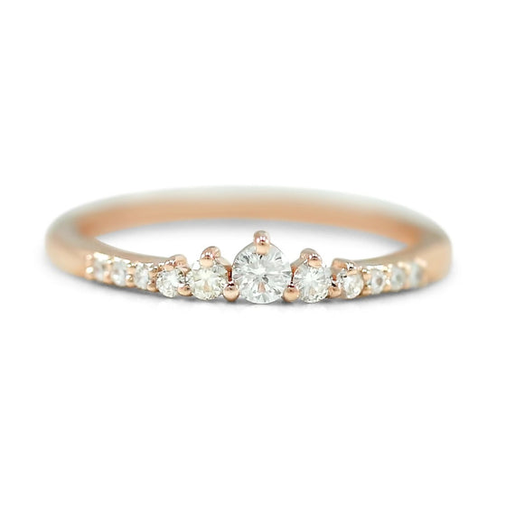 14k yellow, white or rose gold 0.25tcw diamond princess wedding band