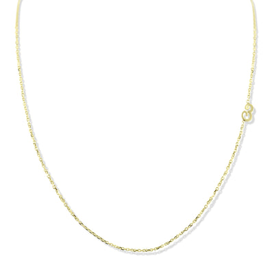 14k yellow, white or rose gold initial necklace. Off set initial A-Z available under $500