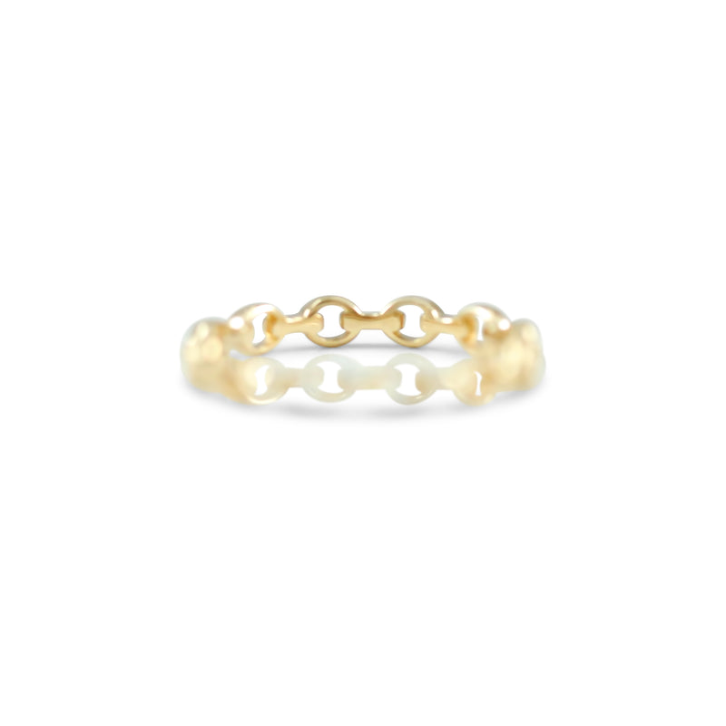 14k yellow, rose or white gold chain link ring 3.0mm wedding band or stack ring