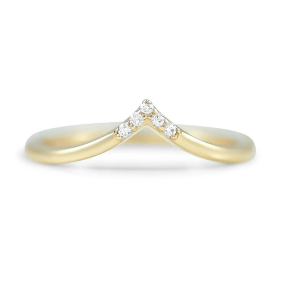 14k yellow, white or rose gold diamond v contour band