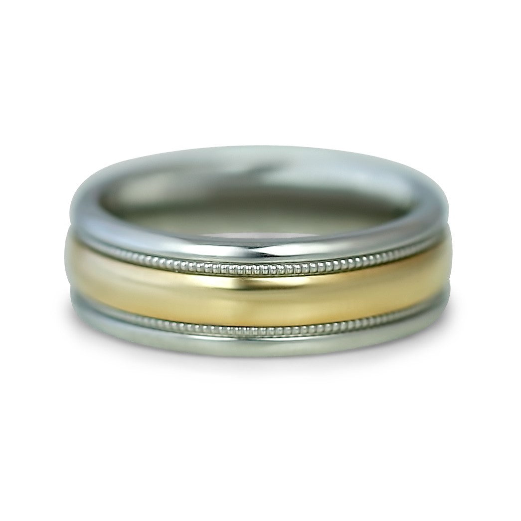 10k Yellow Gold and Stainless Steel Men's Wedding Band