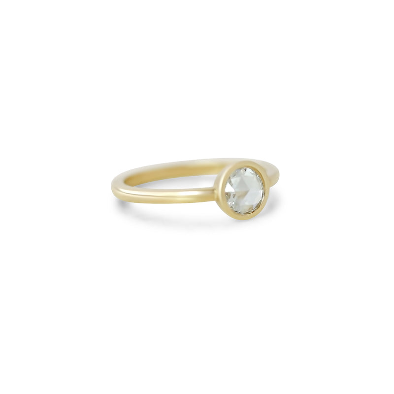 14k yellow gold round rose cut bezel set diamond engagement ring