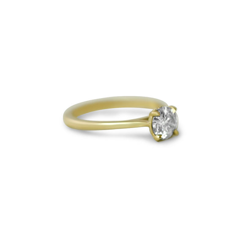 14k yellow gold round gray diamond engagement ring with hidden diamonds on the rail