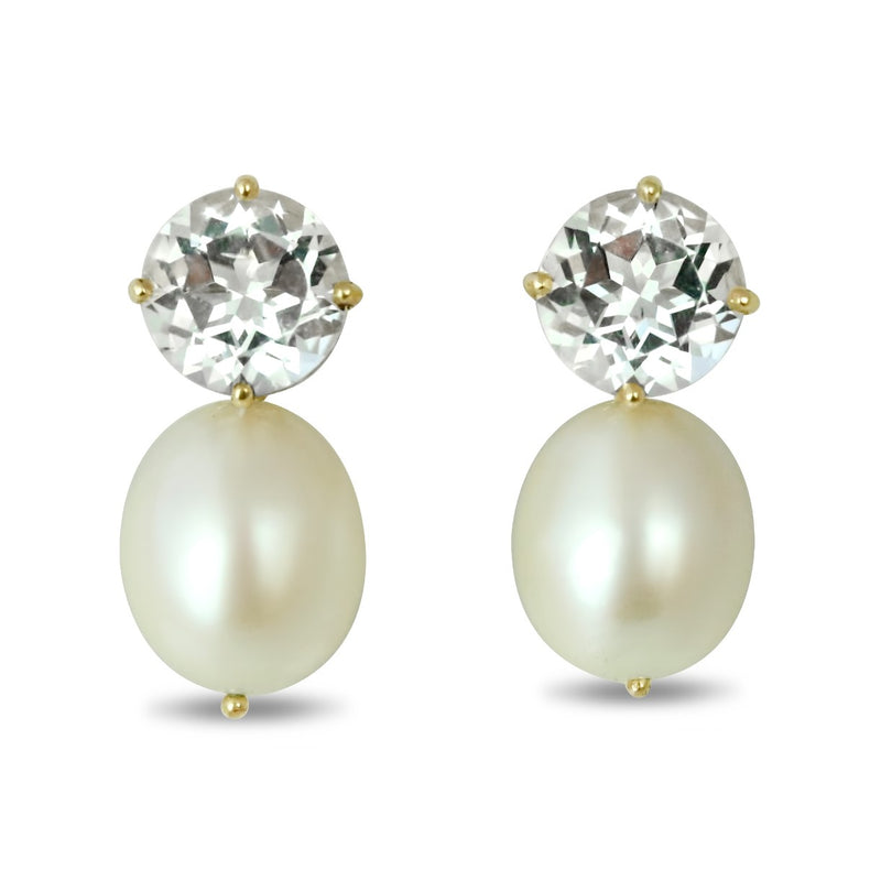 14k yellow gold white topaz and rice pearl dangle earrings under 500
