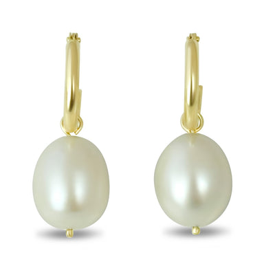 14k yellow gold rice pearl dangle earrings with 2mm lightweight hoop