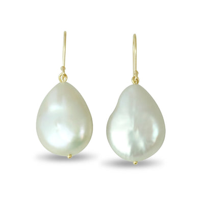 14k yellow gold wireback coin pearl dangle earrings under 200