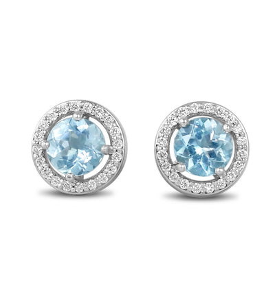 Nigeria aquamarine stud earrings with matching diamond halos set in 14k white gold stud earrings
