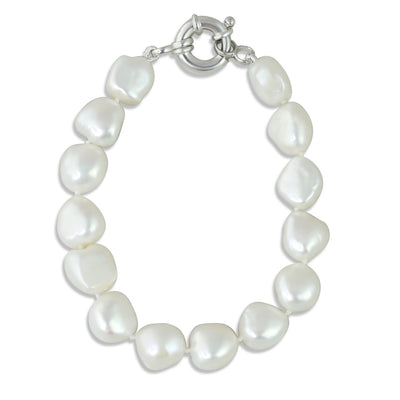 silver pearl bracelet with clasp made with nugget pearls and 7in long under 100