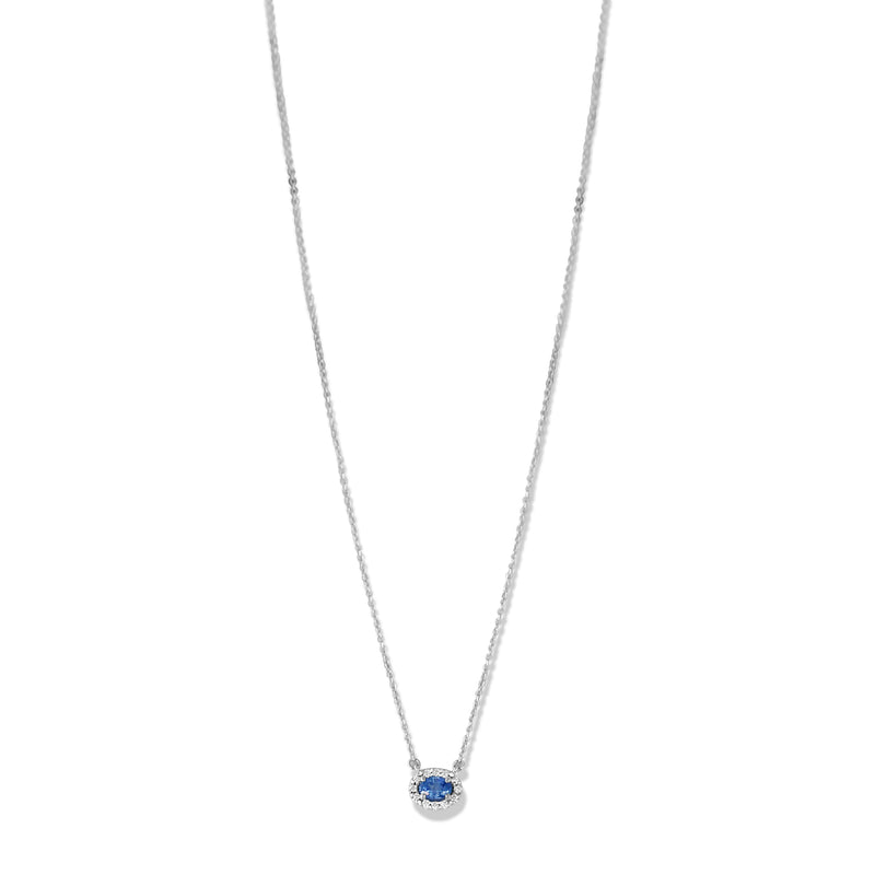 14k white gold oval light blue sapphire necklace with a matching white diamond halo under $1000