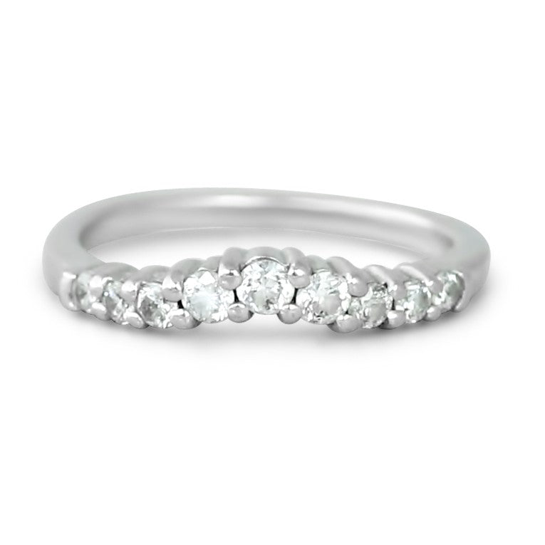 14k white gold round diamond contour estate wedding band