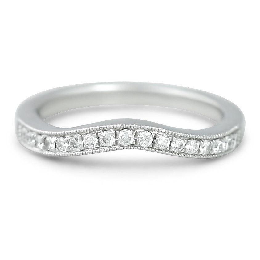 platinum estate contour band with bead set diamonds