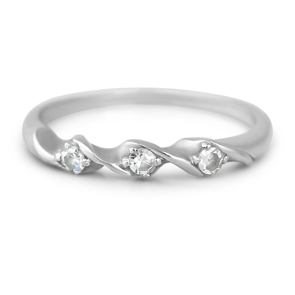 14k white gold estate wedding band with three single cut diamonds and unique twist detail