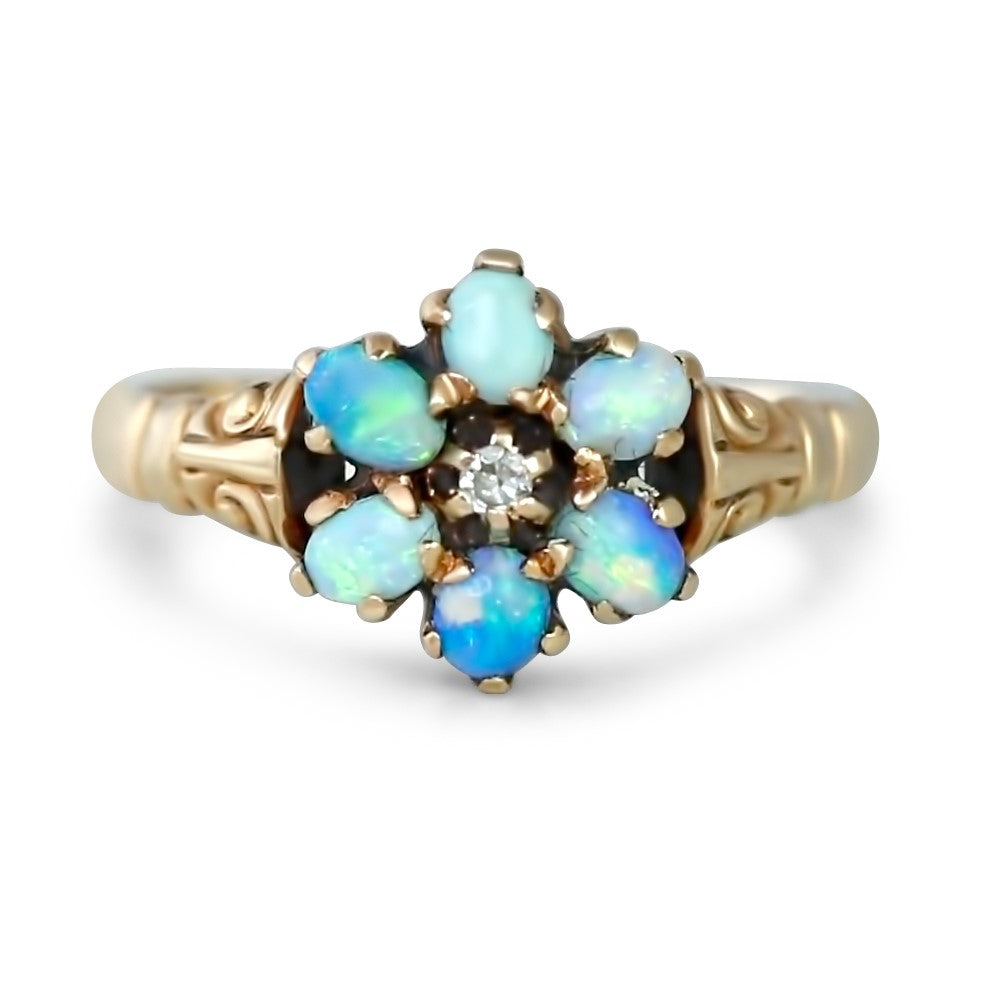 10k yellow gold victorian estate flower ring with six opals and a dainty diamond