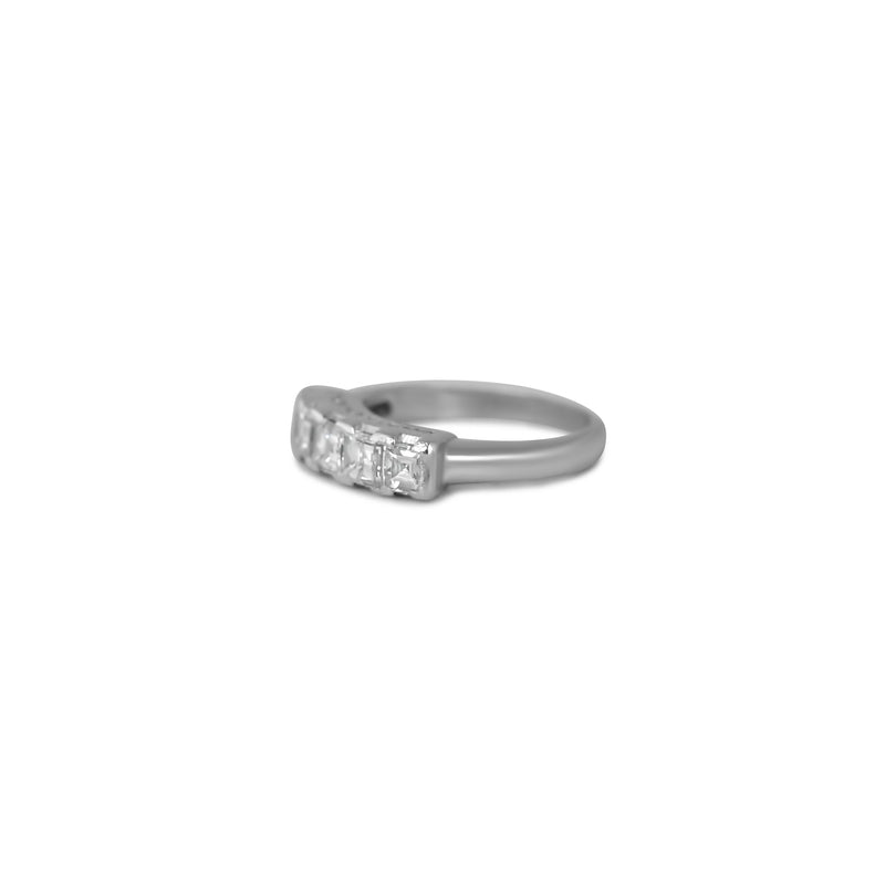 Platinum asscher cut diamond estate wedding band with filigree details on the side view