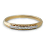 14k white gold and 18k yellow gold engraved estate wedding band with diamond cut pattern on the top