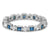 18k white gold estate sapphire and diamond estate wedding band with milgrain and engraving