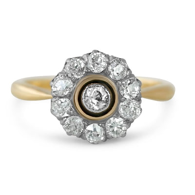18k yellow gold antique victorian flower diamond engagement ring with old mine cut diamonds