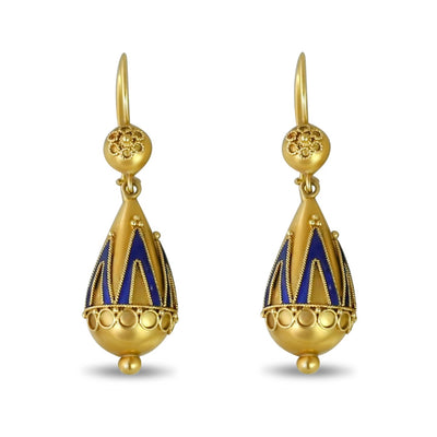 antique dangle wireback earrings in 15k yellow gold with royal blue enamel