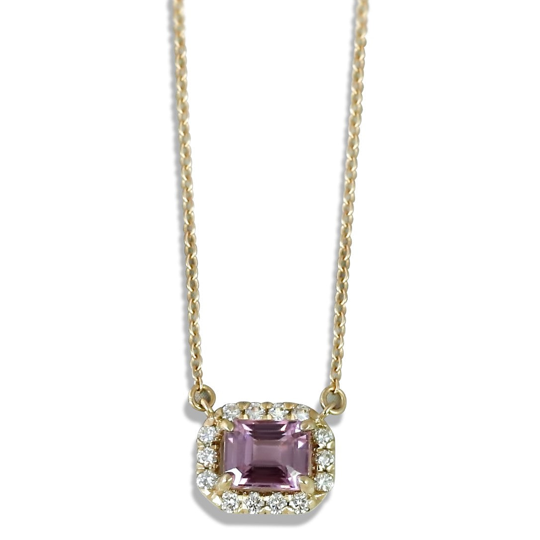 14k yellow gold emerald cut burma pink spinel gemstone necklace with a mathcing white diamond halo under 1000
