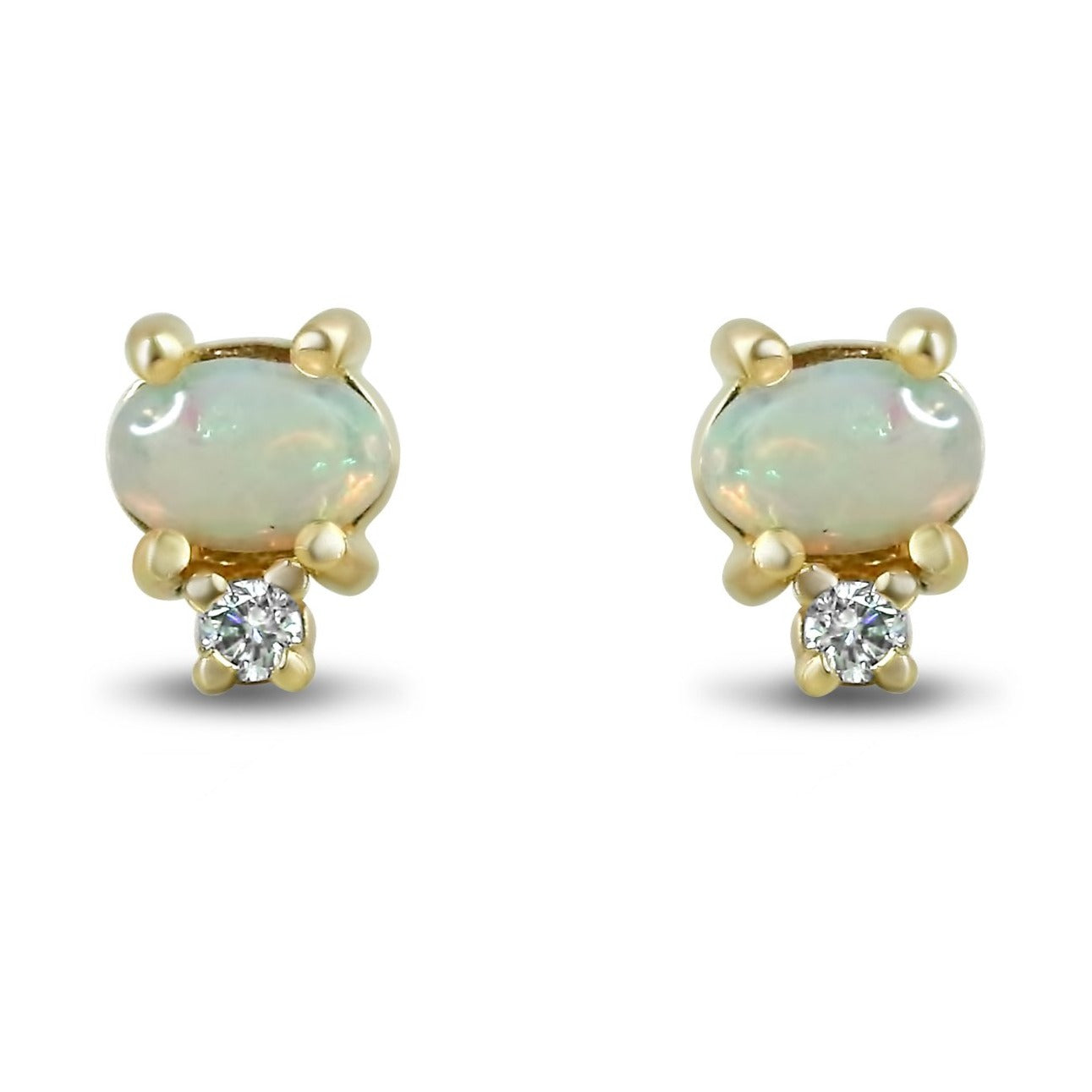 14k yellow gold cabochon cut opal and diamond stud earrings under $1,000