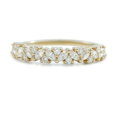 marquis and round diamond wedding band available in yellow rose or white gold diamonds go half way around band