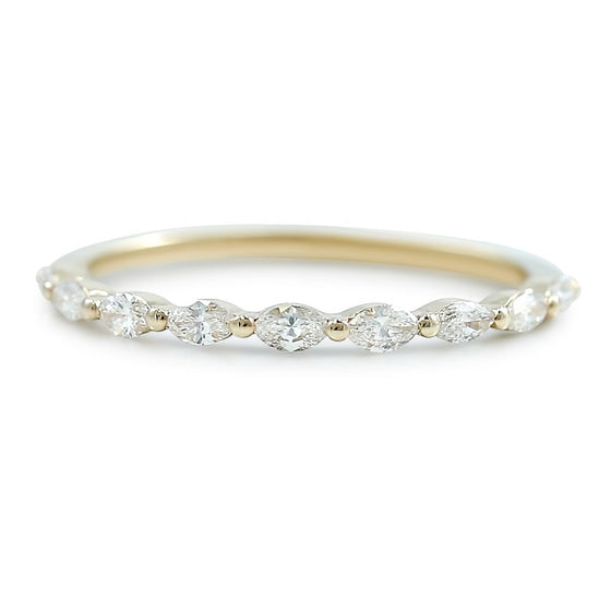 marquis diamond thin wedding band available in white yellow or rose gold