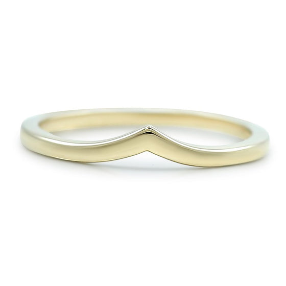 Contour wedding band thin and simple with yellow gold band v contour band