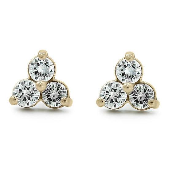 three diamond bezel set yellow gold stud earrings with prongs