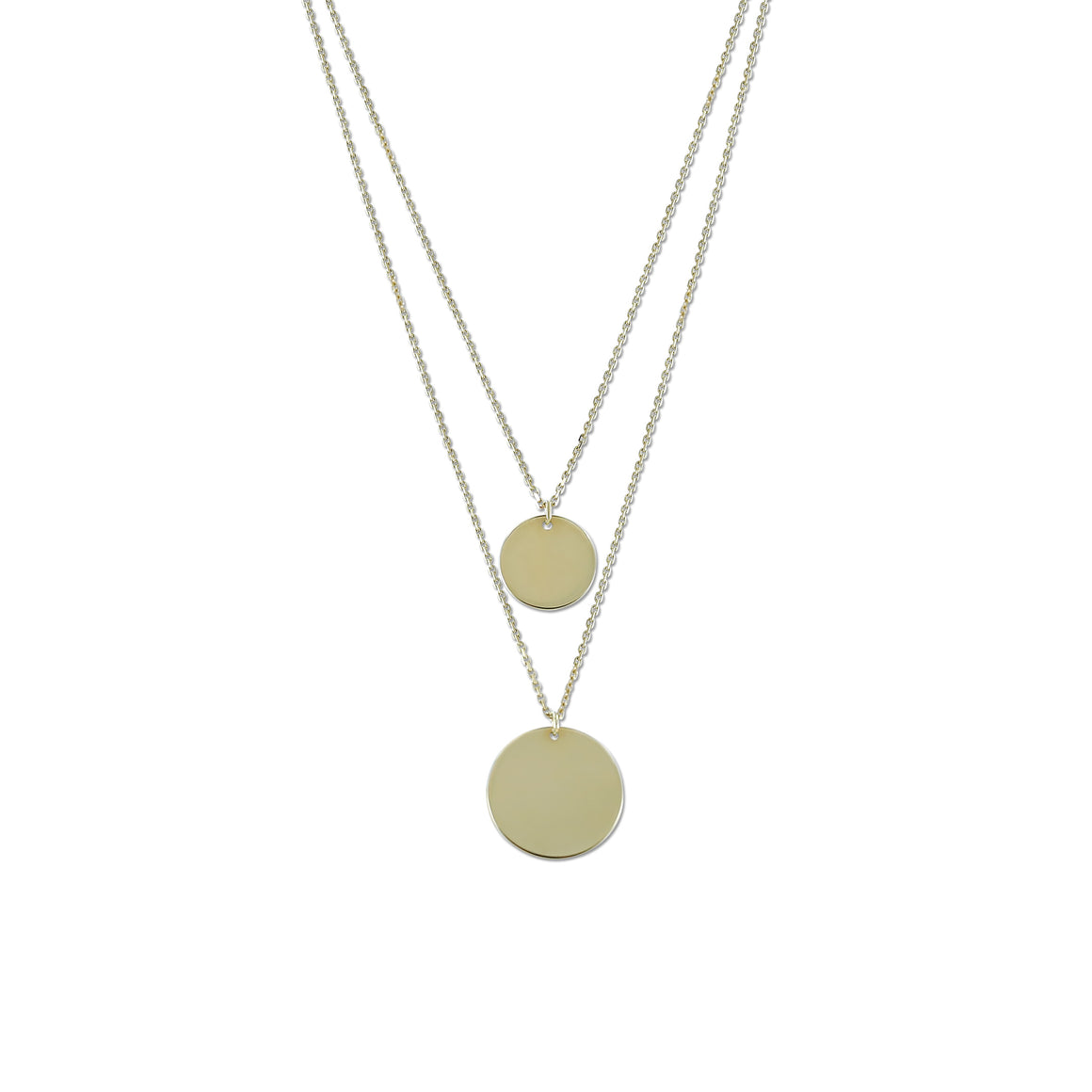 14k yellow gold double strand gold disk necklace 18in chain can adjust to 16in chain