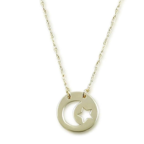Star and moon yellow gold necklace with adjustable 18inch chain