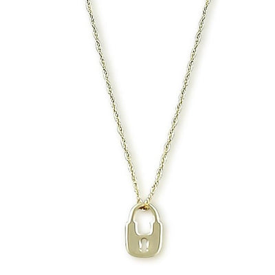 dainty lock necklace with 14k yellow gold chain 18inch chain adjusts to 16 inches