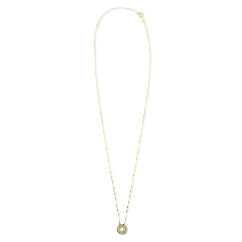 star cutout 14k yellow gold necklace with an 18 inch adjustable chain